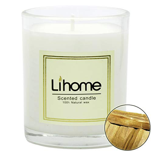 45Min Lihome All Natural Soy Wax Scented Candles, Essential Oil, Net Weight 5.6oz 45 Hours Burn Time, Lavender/Jasmine/Lemon/Vanilla etc. 8 Scents(Sandelwood), Gifts for Love. (Net Oil)