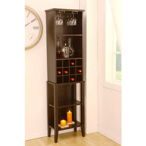 Wellsburg Espresso Finish Wine Bar Storage Cabinet