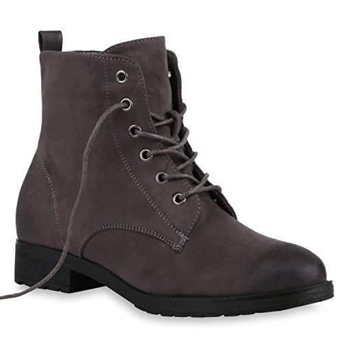 Stiefelparadies Damen Schnürstiefeletten Zipper Nieten Schuhe Strass Schnürschuhe Boots Coole Leder-Optik Schnürer Flandell Grau Amares
