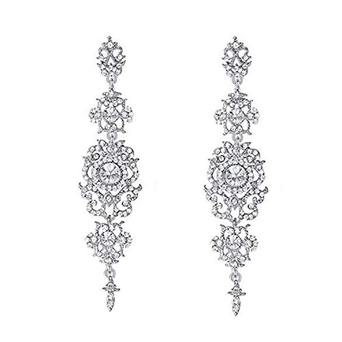 Mondora Prom Dangle Earrings Long Chandelier Women's Austrian Crystal Pierced Silver-Tone Clear