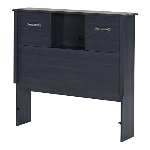 - South Shore Ulysses Bookcase Headboard with Sliding Doors, Twin 39-inch, Blueberry