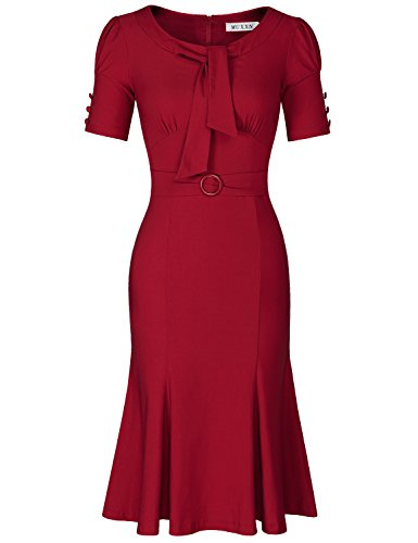 MUXXN Lady Audrey Hepburn 1940s Scoop Sleeve Juniors Cocktail Mermaid Dress (Burgundy ()