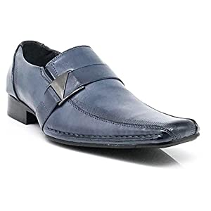 Stone Men's Dress Loafers Elastic Slip on with Buckle Fashion Shoes Runs Half Size Big