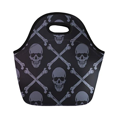 Semtomn Neoprene Lunch Tote Bag Pattern Skulls Death Skeleton Abstract Silhouette Evil Funky Halloween Reusable Cooler Bags Insulated Thermal Picnic Handbag for Travel,School,Outdoors,Work -