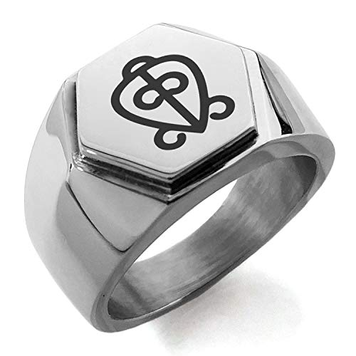 (Stainless Steel Aztec Power of Love Rune Hexagon Crest Flat Top Biker Style Polished Ring, Size 9.5)