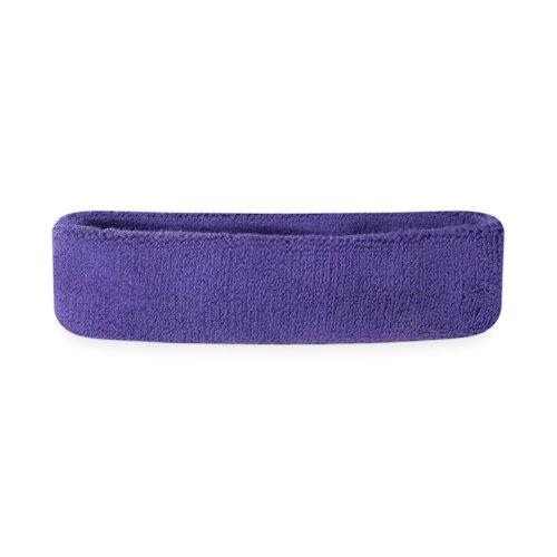 Suddora Kids Headband - Soft Terry Cloth Sports Head Sweatband for Youth Basketball, Soccer and More (Purple)