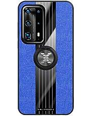 Fanxwu Cover Compatible con Funda Huawei P40 Lite Ligero Tejido Case con 360 Grados Rotaria Kickstand Protección Resistente Anti-Huella Dactilar Carcasa - Azul