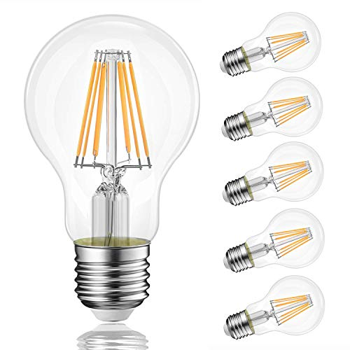 BATHEBRIGHT Vintage Edison LED Bulb, Dimmable 6W A19 Antique LED Light Bulb, 60 Watt Equivalent,for Restaurant,Home, Reading Room, E26 Clear Glass Cover, Soft Warm White 2700k, Pack of 6