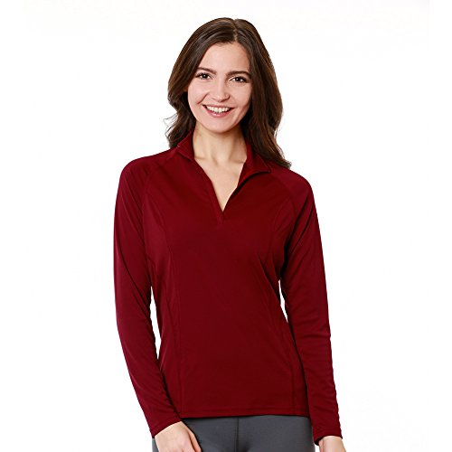Nozone Tuscany Long Sleeved Sun Protective Women's Equestrian Shirt in Ruby Wine, Large