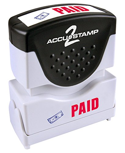 ACCUSTAMP 'PAID' Shutter Stamp with Microban Protection, Pre-Inked Red and Blue, Message Stamp (035535)
