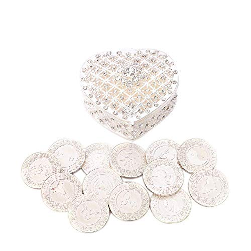 TINGKU English Silver Wedding Unity Coins Set Arras de Boda Wedding Arras Coins Ceremony Souvenirs Accessories with Heart Shaped Box (English Coins)
