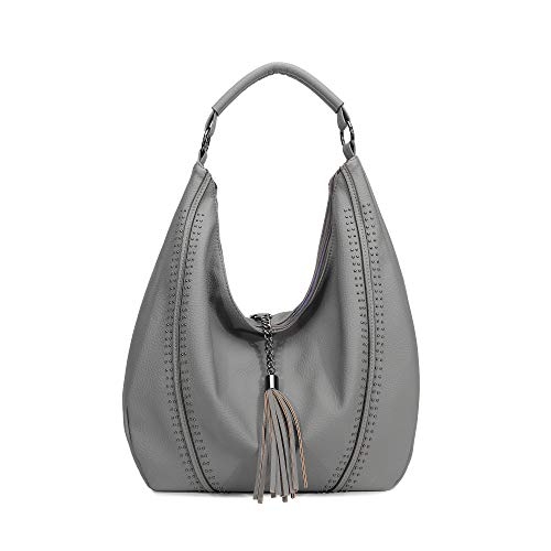 Handbags for Women, Hobo Shoulder Bags Of PU Leather Large Compacity Tote Purses With Tassel Decoration (Grey)