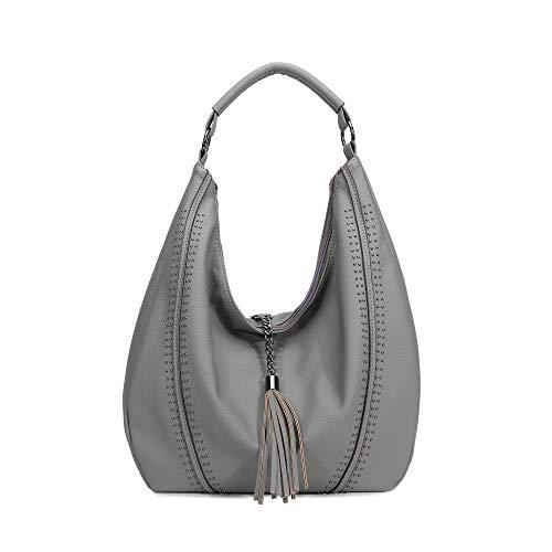 Grey Leather Handbags - 9