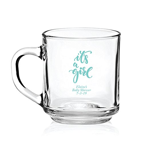 Personalized Color Printed Glass Coffee Mug - It's a Girl - Robins Egg Blue - 24 pack by Abby Smith