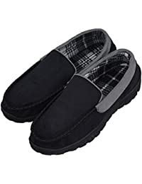 Men's Micro Suede Moccasin Slippers Pile Lined Indoor Outdoor Slip On Shoes (FBA)