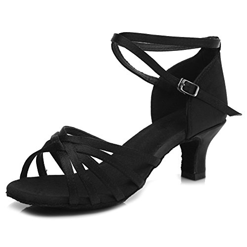 Latin Ballsaal HIPPOSEUS DE213 Schuhe Tanzschuhe Ausgestelltes Dance Satin Schwarz Standard absatzhöhe Modell Damen 5cm TxI4w1