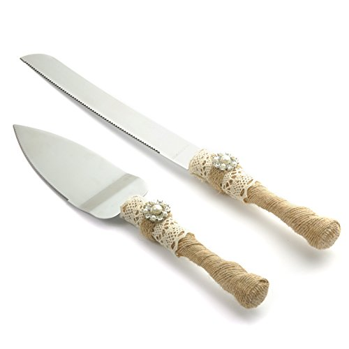 Country Cutter - Vsolucky Rustic Wedding Cake Knife and Server Set, Country Wedding Cake Cutter Set, Rustic Burlap Twine Wedding Bridal Shower Gift
