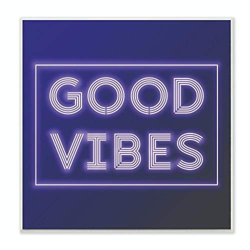 Stupell Industries Neon Good Vibes Fashion Modern Purple Word Design Wall Plaque, 12 x 12, Multi-Color