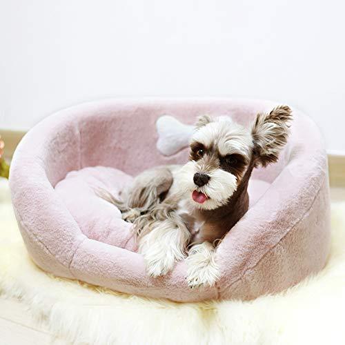 Affetto Premium Orthopedic Dog Bed Lounge Sofa, Luxury Faux Fur Cuddle Pet Bed [Pink/L]