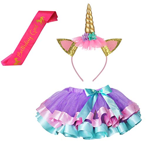 Girls Layered Lavender Tutu Skirts with Unicorn Horn Headband (Lavender Tutu with Golden Headband, 4-9 Years)