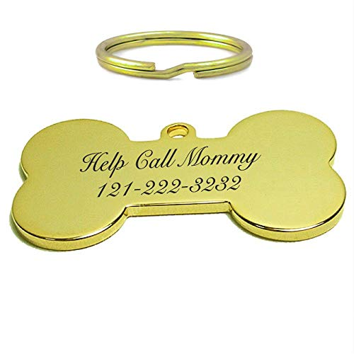 aandlengraving Personalized Gold Bone Pet Tag ID Charm Pendant for Dogs Collar Engraved Free Custom Dog Tags from aandlengraving