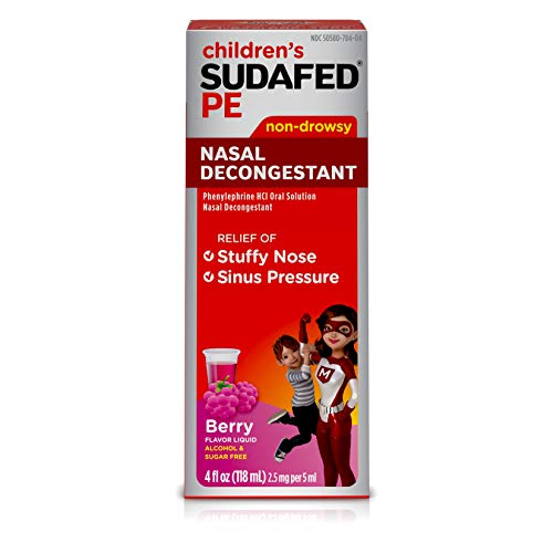 (Children's Sudafed PE Nasal Decongestant with Phenylephrine HCl, Berry-Flavored Liquid, 4 fl. oz)