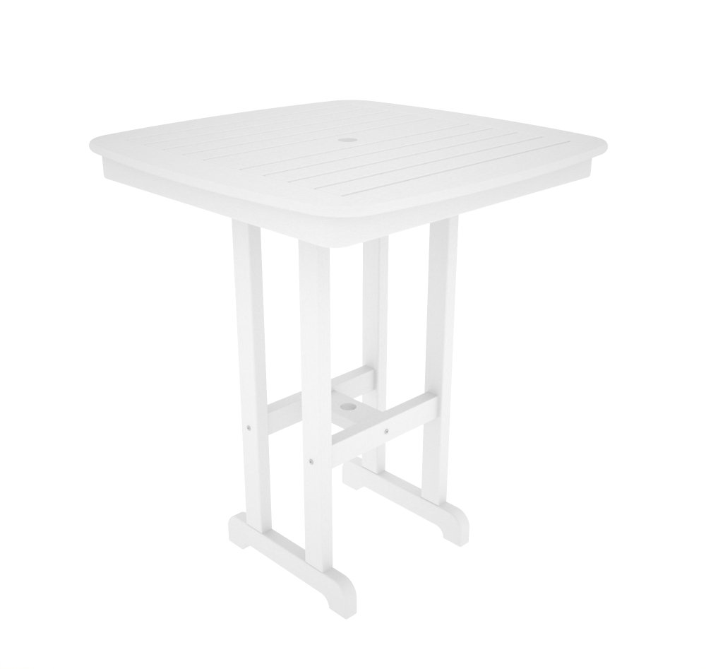 POLYWOOD NCBT37WH Nautical Bar Table, 37-Inch, White