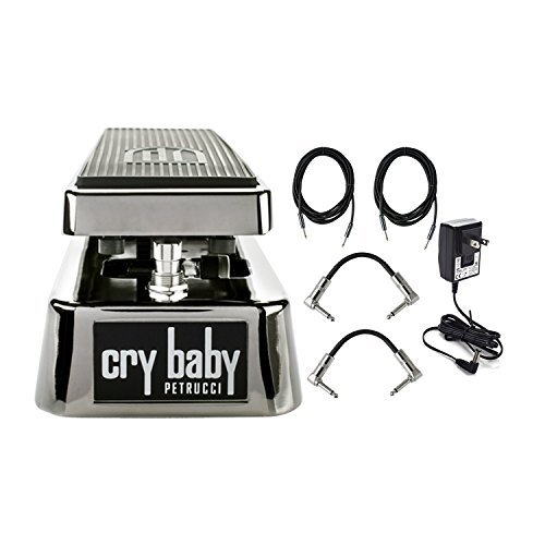 Dunlop JP95 John Petrucci Signature Cry Baby Wah Pedal With a Pair of Patch Cables, Power Supply, and Instrument Cables