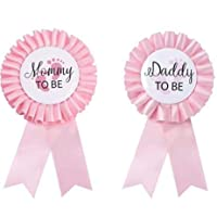 CoolerthingsDG, Daddy to be & Mom to be Tinplate Badge Pin - Baby Shower Button New Dad Gifts Gender Reveals Party Baby Girl Pink Rosette Button Baby Celebration (Pink)