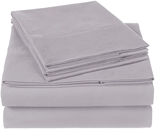 Pinzon 300 Thread Count Organic Cotton Bed Sheet Set, Queen, Dove Grey