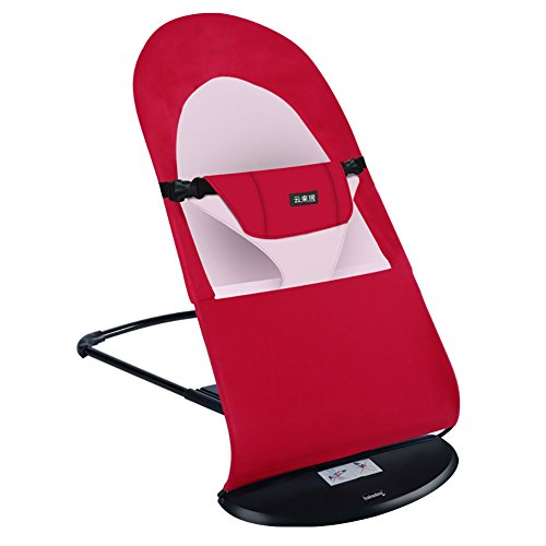 ZJM-Chaise Lounges Folding Baby Rocking Chair Reassure Chair Deck Chair Children Coax Couch Safe Cradle (Color : Red)