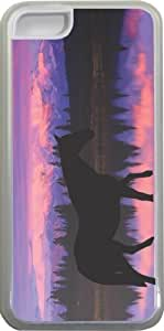 LJF phone case Rikki KnightTM Horse Silhouette on Mountain Range Design Design ipod touch 4 Case Cover (Clear Rubber with bumper protection) for Apple ipod touch 4