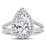 1.4 Carat GIA Certified 14K White Gold Split Shank Pear Cut Diamond Engagement Ring (0.9 Ct K Color VS1 Clarity Center)