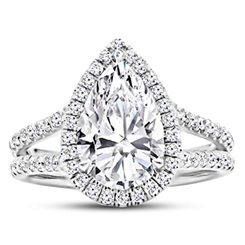 1 Carat 14K White Gold Split Shank Pear Cut Diamond Engagement Ring (0.5 Ct F Color SI3 Clarity Center Stone)