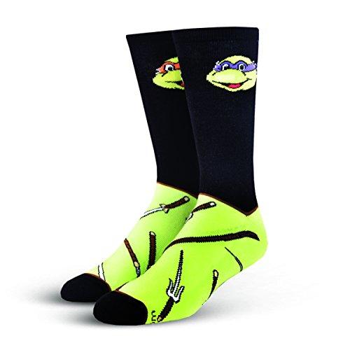 Cool Socks Men's Knit Crew Socks (Shoe Size 6-12, Black/Ninja Turtles Print)]()