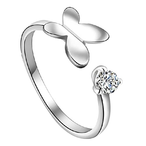 Freedi Women Open Rings Adjustable Diamond Crystal Butterfly Wedding Engagement Rings Fashion Jewelry Gift