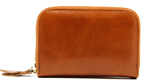 - Seaoeey RFID Anti-Theft Clip Men's Card Package Multi-Purpose Zipper Wallet Purse for Men and Boys Brown
