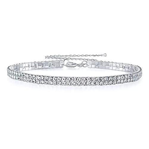 Nattaphol Bridal Wedding Party Prom 2 Row Stretch Rhinestone Choker Necklace Elastic Cord Elegant