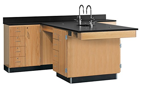 Diversified Woodcrafts 2836K Solid Oak Wood Perimeter Station with Door and 4 Drawer, Epoxy Resin Top, 90