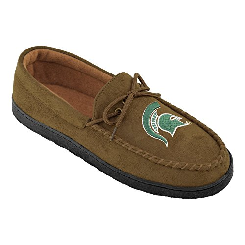 Michigan State Spartans Slippers (NCAA Michigan State Spartans Men's Moccasin, Size 9, Brown)