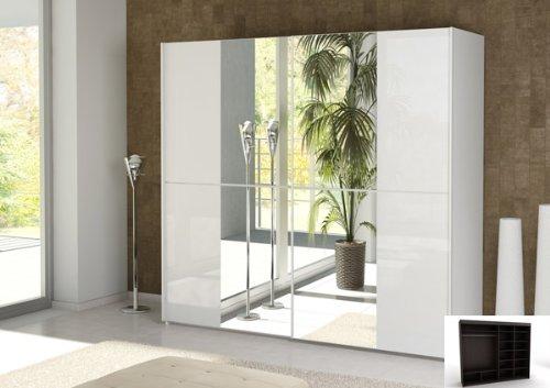 Schwebetürenschrank Schrank mit Spiegel 2-türig weiss Hochglanz ... | {Kleiderschrank weiß hochglanz mit spiegel 3}