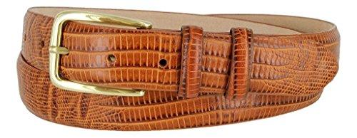 Lizard Genuine Belt (Hagora Men's Genuine Italian Calfskin Leather Eclectic Skin Textures Buckle Belt,Lizard Tan)