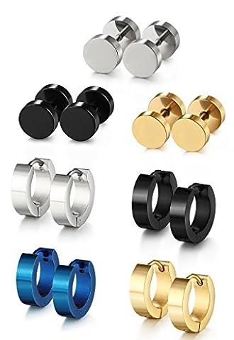 FIBO STEEL Stainless Steel Piercing Stud Earrings for Men Women Hoop Earrings 7 Pairs a Set - Ear Piercing Stud