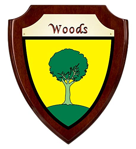 Woods Irish Coat of Arms Shield Plaque - Rosewood Finish