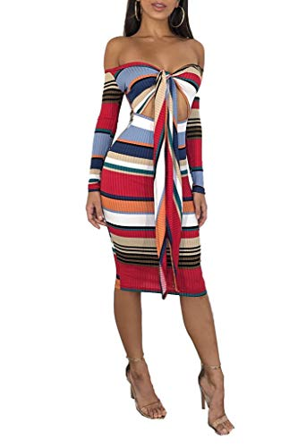 (Ophestin Women Off The Shoulder Multi Wear Tie Front Ribbed Stripe Print Hollow Out Bodycon Midi Pencil Dress Red)