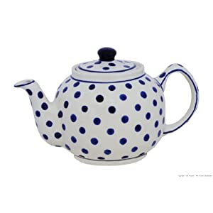 Polish Pottery Boleslawiec Teapot, 1L in DOTTY pattern
