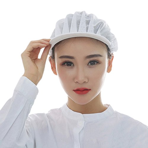 Jiyaru Mesh Chef Hat Restaurant Kitchen Working Catering Elastic Cap for Adults White