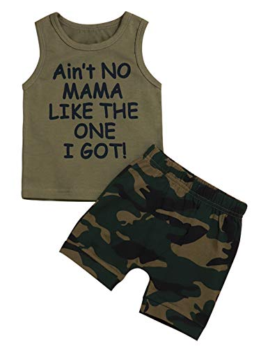 - Baby Boy Clothes Funny Letter Printed Vest and Camouflage Shorts Summer Outfit Set (B-Green, 12-18 Months)