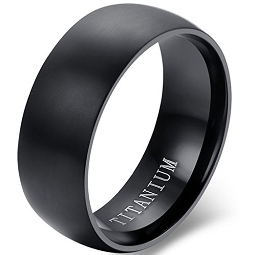 Jude Jewelers 8mm Brushed Matte Black Solid Titanium Ring Wedding Band (8) ()