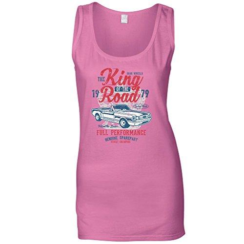 Retro Car Womens Vest King of The Road 1979 Racing Art Pink S (Shirt Road 1979)